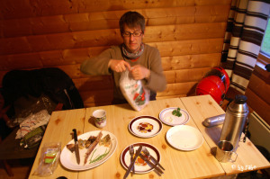 Abendbrot in Hytta in Nesvik