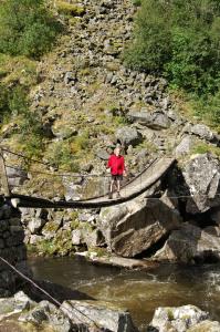 Brücke über Abfluss des Vørungsfossen