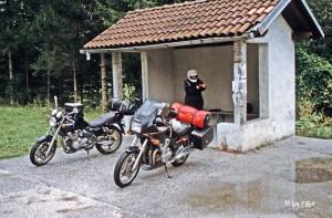 Fertigmachen zur Regenrückfahrt Slowenien